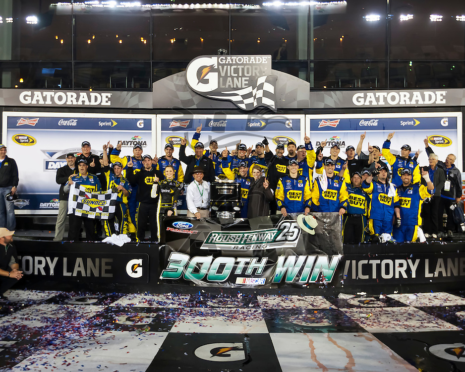 DAYTONA BEACH, FL - Feb 28, 2012:  Matt Kenseth wins the Daytona 500 at the Daytona International Speedway in Daytona Beach, FL.