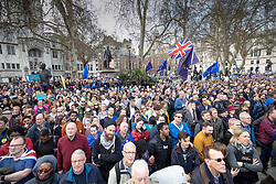 © Licensed to London News Pictures. 23/03/2019. London, UK. Thousands of demonstrators fill Parliament Square as they take part in the 'Put It To The People march' through central London. The People's Vote Campaign are calling for a second referendum on the United Kingdom's membership of the European Union. Photo credit: Peter Macdiarmid/LNP