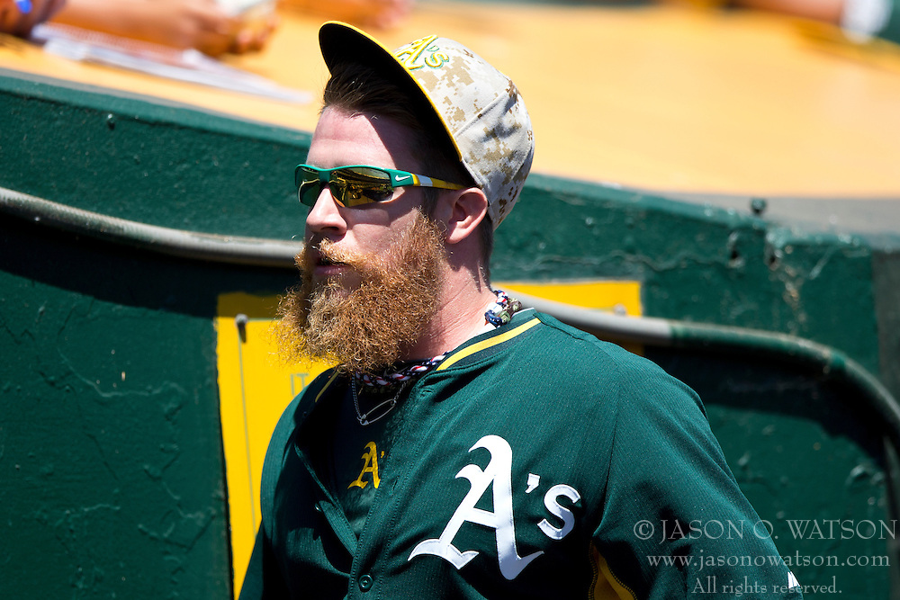 OAKLAND, CA - MAY 26:  Sean Doolittle #62 of the Oakland Athletics looks on during batting practice before the game against the Detroit Tigers at O.co Coliseum on May 26, 2014 in Oakland, California. The Oakland Athletics defeated the Detroit Tigers 10-0.  (Photo by Jason O. Watson/Getty Images) *** Local Caption *** Sean Doolittle