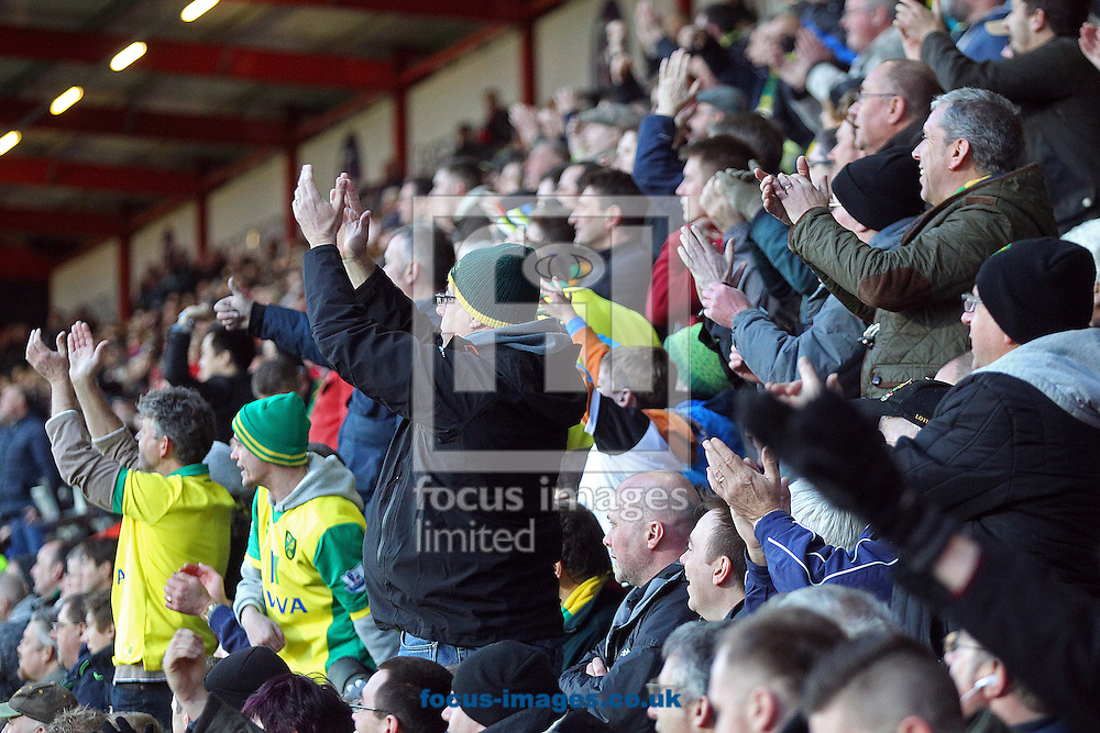 The traveling Norwich fans during the match at the Goldsands Stadium, Bournemouth<br /> Picture by Paul Chesterton/Focus Images Ltd +44 7904 640267<br /> 10/01/2015