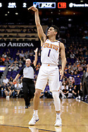Oct 25, 2017; Phoenix, AZ, USA; Phoenix Suns guard Devin Booker (1) shoots the ball against the Utah Jazz in the first half at Talking Stick Resort Arena. Mandatory Credit: Jennifer Stewart-USA TODAY Sports