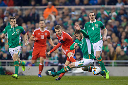 DUBLIN, REPUBLIC OF IRELAND - Friday, March 24, 2017: Wales' Aaron Ramsey in action against Republic of Ireland's Richard Keogh during the 2018 FIFA World Cup Qualifying Group D match at the Aviva Stadium. (Pic by David Rawcliffe/Propaganda)