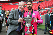 Colin Peake and Forest Green Rovers goalkeeper Sam Russell(23) during the Vanarama National League Play Off Final match between Tranmere Rovers and Forest Green Rovers at Wembley Stadium, London, England on 14 May 2017. Photo by Shane Healey.