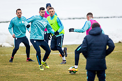 Nemanja Mitrovic, Jasmin Kurtic during Training of Slovenian National Football team before friendly matches with Austria and Belarus, on March 19, 2018 in Football National Centre, Brdo pri Kranju, Kranj, Slovenia. Photo by Ziga Zupan / Sportida
