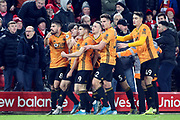Wolverhampton Wanderers midfielder Pedro Neto (7) celebrates in front of the Liverpool fans thinking he has scored only for VAR to disallow the goal  during the Premier League match between Liverpool and Wolverhampton Wanderers at Anfield, Liverpool, England on 29 December 2019.