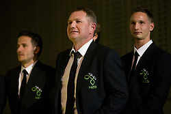 Zlatan Ljubijankic, Matjaz Kek and Tim Matavz at official presentation of Slovenian National Football team for World Cup 2010 South Africa, on May 21, 2010 in Congress Center Brdo at Kranj, Slovenia. (Photo by Vid Ponikvar / Sportida)