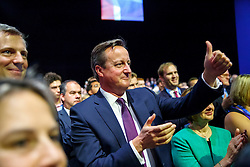 © Licensed to London News Pictures. 06/10/2015. Manchester, UK. Prime Minister David Cameron listening Mayor of London Boris Johnson's speech at Conservative Party Conference at Manchester Central on Tuesday, 6 October 2015. Photo credit: Tolga Akmen/LNP