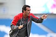 Sevilla Manager Unai Emery during the Pre-Season Friendly match between Brighton and Hove Albion and Sevilla at the American Express Community Stadium, Brighton and Hove, England on 2 August 2015. Photo by Phil Duncan.
