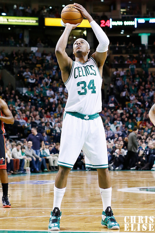 27 January 2013: Boston Celtics small forward Paul Pierce (34) is seen at the free throw line during the Boston Celtics 100-98  2OT victory over the Miami Heat at the TD Garden, Boston, Massachusetts, USA.