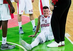 Matic Rebec of FMP injured during basketball match between KK Petrol Olimpija and KK FMP in Round #9 of ABA League 2018/19, on November 24, 2018, in Arena Stozice, Ljubljana, Slovenia. Photo by Vid Ponikvar / Sportida