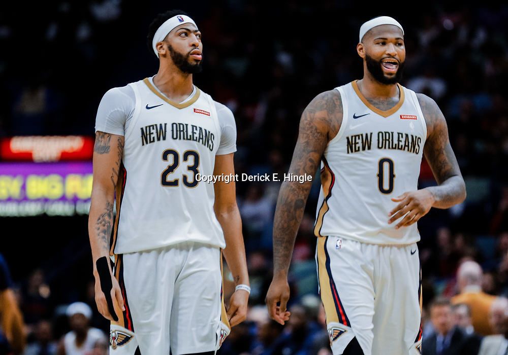 Jan 20, 2018; New Orleans, LA, USA; New Orleans Pelicans forward Anthony Davis (23) and center DeMarcus Cousins (0) during the second half against the Memphis Grizzlies at the Smoothie King Center. The Pelicans defeated the Grizzlies 111-104. Mandatory Credit: Derick E. Hingle-USA TODAY Sports