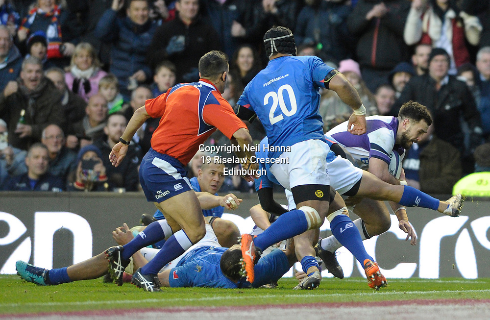 No Sales, Syndication or Archive <br /> Scotland V Samoa<br /> Saturday 11 November 2017<br /> BT Murrayfield <br /> <br /> Alex Dunbar of Scotland scores Scotland's 5th try<br /> <br /> <br />  Neil Hanna Photography<br /> www.neilhannaphotography.co.uk<br /> 07702 246823