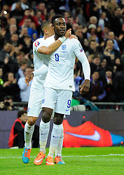 Danny Welbeck of England (Arsenal) celebrates his second goal with Kieran Gibbs (Arsenal)  - Photo mandatory by-line: Joe Meredith/JMP - Mobile: 07966 386802 - 15/11/2014 - SPORT - Football - London - Wembley - England v Slovenia - EURO 2016 Qualifier