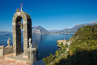 A view of an archway high above Lake Como in Lombardy, Italy.