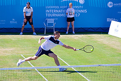 LIVERPOOL, ENGLAND - Sunday, June 18, 2017: Ken Skupski (GBR) during Day Four of the Liverpool Hope University International Tennis Tournament 2017 at the Liverpool Cricket Club. (Pic by David Rawcliffe/Propaganda)