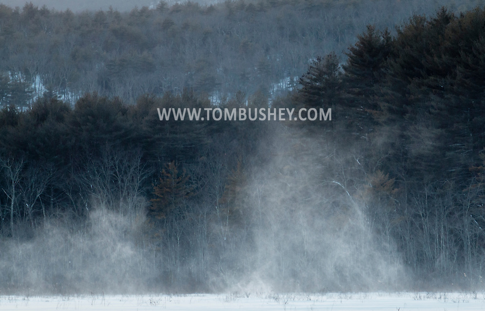 Mamakating, New York - Strong wind gusts blow snow across the Bashakill Wildlife Management Area on Feb. 15, 2015. ©Tom Bushey / The Image Works