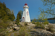 Big Tub Lighthouse in Lake Huron. Georgian Bay on Bruce Peninsula<br /> Tobermory<br /> Ontario<br /> Canada