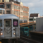 Seven Line subway train, Long Island, Queens, New York, NY