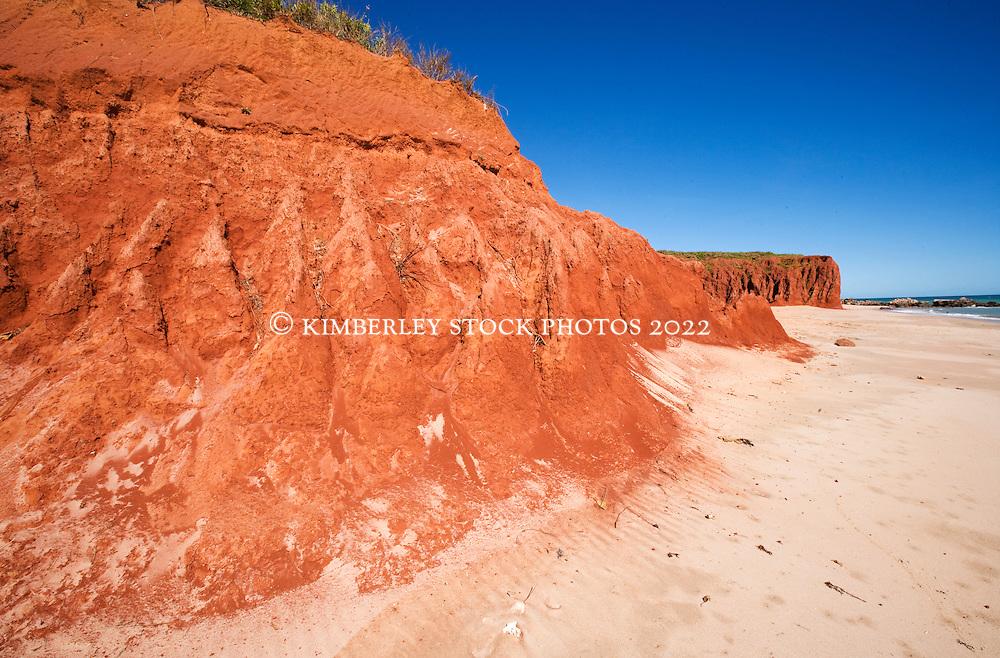 Red pindan cliffs meet white sand at James Price Point on the Dampier Peninsula.
