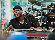 PRICE CHAMBERS / NEWS&amp;GUIDE<br /> Four-time Grammy nominee Robert Randolph makes his electric pedal-steel guitar scream for the audience at Sunday's Jackson Hole Live concert at the base of Snow King.