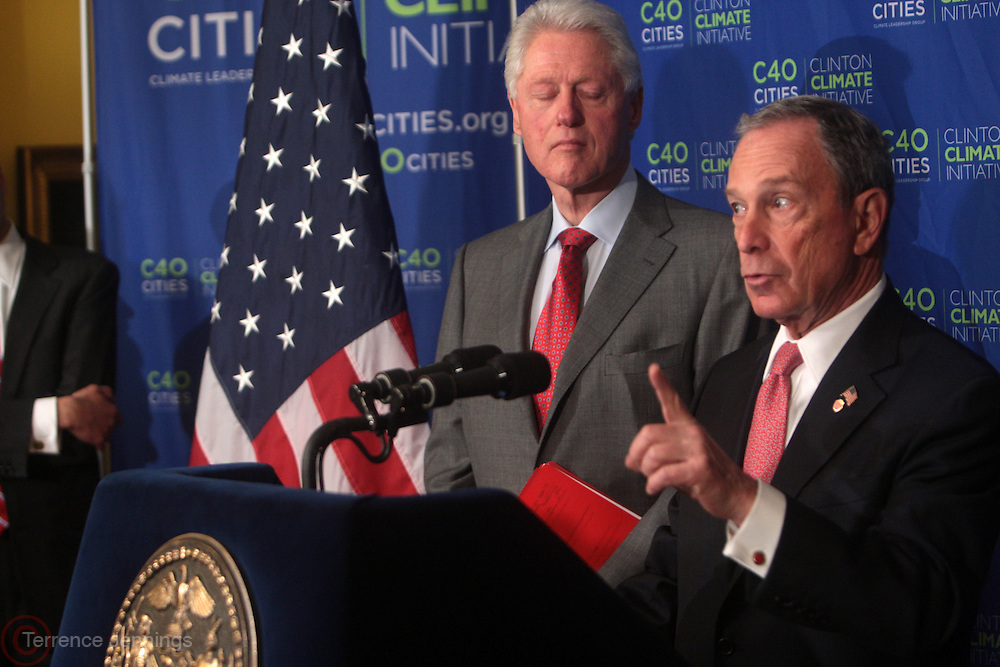 13 April 2011-New York, NY- l to r: Former U.S. President Bill Clinton and New York City Mayor Michael Bloomberg at press conference announcing the results of Health Department Air Quality that shows air in Times Square is cleaner and healthier since pedestrian were opened held at Gracie Mansion on April 13, 2011 in New York City.  Photo Credit: Terrence Jennings