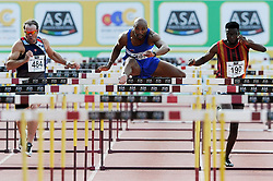 Stellenbosch. 160416 Altonio Alkana winning the mens 100m  hurdles final during the ASA Senior track and field Championships held at Coetzenberg in Stellenbosch. Picture Leon Lestrade