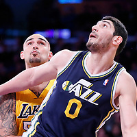 11 February 2014: Los Angeles Lakers center Robert Sacre (50) vies for the rebound with Utah Jazz center Enes Kanter (0) during the Utah Jazz 96-79 victory over the Los Angeles Lakers at the Staples Center, Los Angeles, California, USA.