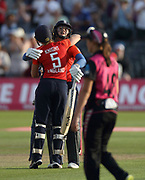 Heather Knight and Nat Sciver celebrate winning the international T20 between England Women and the White Ferns at the Brightside Ground, Bristol. Photo: Graham Morris/www.photosport.nz 28/06/18 NZ USE ONLY