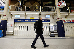 © Licensed to London News Pictures. 08/01/2017. London, UK. Liverpool Street tube station's main entrance is closed as London Underground services are severely disrupted due to members of RMT and TSSA start a 24 hour strike action in a dispute over jobs cuts and closed ticket offices on Sunday, 8 January 2017. The strike action also will be effective all day on Monday, 9 January 2017. Photo credit: Tolga Akmen/LNP