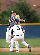 Newtown 2nd baseman Zac Deegan throws to first base after forcing out Yardley Morrisville's Griffen Schlaepfer #3 in the 3rd inning at Council Rock North High School Tuesday June 30, 2015 in Newtown, Pennsylvania. (Photo by William Thomas Cain)