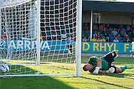 Picture by Ian Wadkins/Focus Images Ltd +44 7877 568959<br /> 25/07/2013<br /> Jonathan Hill-Dunt of Prestatyn Town can't prevent Ivan Močinić of FC Rijeka scoring 1st goal during the second leg of the UEFA Europa League round two qualifying match at Belle Vue Stadium, Rhyl.