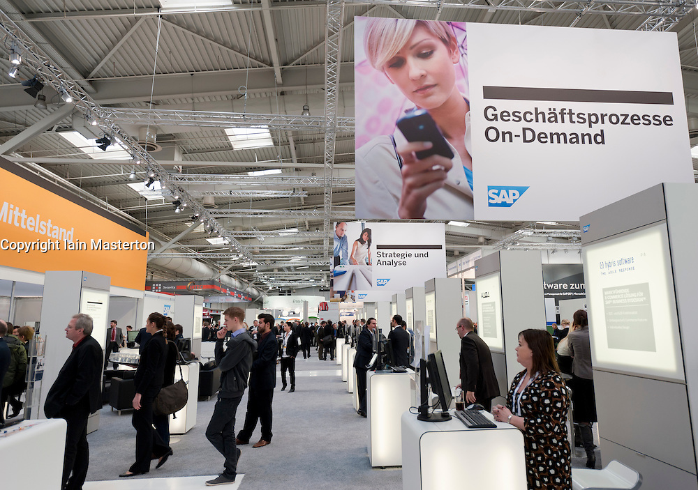 SAP software display area at CeBIT 2011 digital and electronics trade fair in Hannover March 2011 Germany