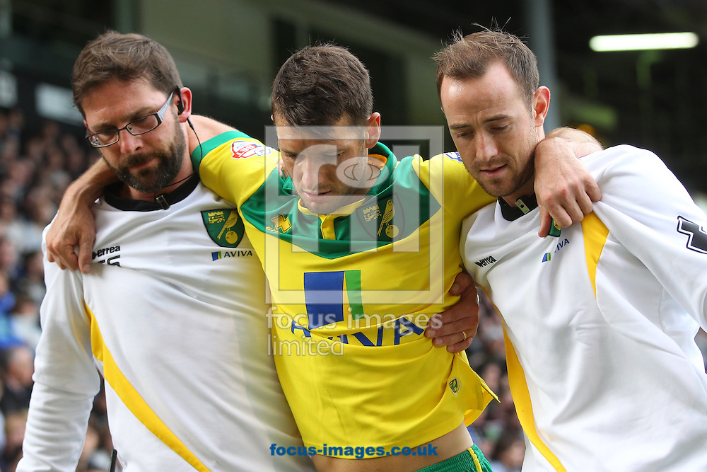 Wes Hoolahan of Norwich is helped back to the dressing room during the Sky Bet Championship match at Craven Cottage, London<br /> Picture by Paul Chesterton/Focus Images Ltd +44 7904 640267<br /> 18/10/2014