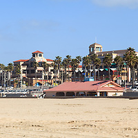 Photo of Huntington Beach downtown. Huntington Beach is a seaside beach city along the Pacific Ocean in Orange County Southern California and is also known as Surf City USA.