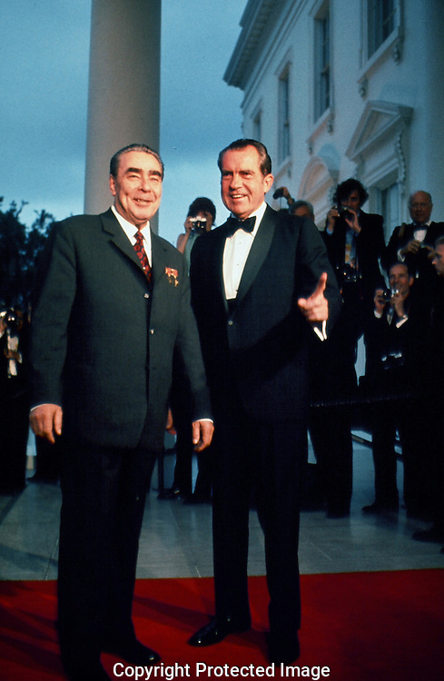 President Richard Nixon and General Secretary Brezhnev pose for photographers at the North Portico of the White House on June 18, 1973...Photograph by Dennis Brack BBBs 20