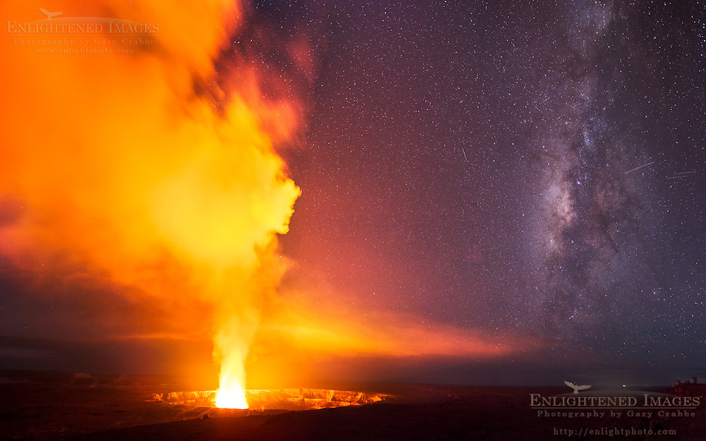Milky Way next to Volcanic steam rising out of Halemaumau Crater, Kilauea Caldera, Hawai'i Volcanoes National Park, Big Island, Hawaii