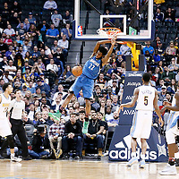 15 February 2017: Minnesota Timberwolves forward Andrew Wiggins (22) dunks the ball during the Minnesota Timberwolves 112-99 victory over the Denver Nuggets, at the Pepsi Center, Denver, Colorado, USA.