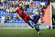 Calvin Andrew heads goalwards during the EFL Sky Bet League 1 match between Oldham Athletic and Rochdale at Boundary Park, Oldham, England on 22 April 2017. Photo by Daniel Youngs.