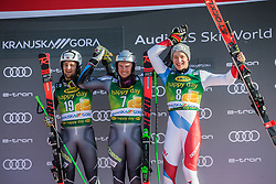 WINDINGSTAD Rasmus of Norway, KRISTOFFERSEN Henrik of Norway and ODERMATT Marco of Switzerland celebrate during trophy ceremony after the Audi FIS Alpine Ski World Cup Men's Giant Slalom 58th Vitranc Cup 2019 on March 9, 2019 in Podkoren, Kranjska Gora, Slovenia. Photo by Peter Podobnik / Sportida