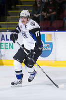 KELOWNA, CANADA - DECEMBER 5:  Adam Lowry #17 of the Swift Current Broncos skates with the puck at the Kelowna Rockets on December 5, 2012 at Prospera Place in Kelowna, British Columbia, Canada (Photo by Marissa Baecker/Shoot the Breeze) *** Local Caption ***