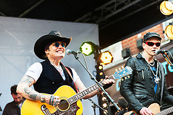 Adam Ant performing at the Berwick Street Record Day in London.
