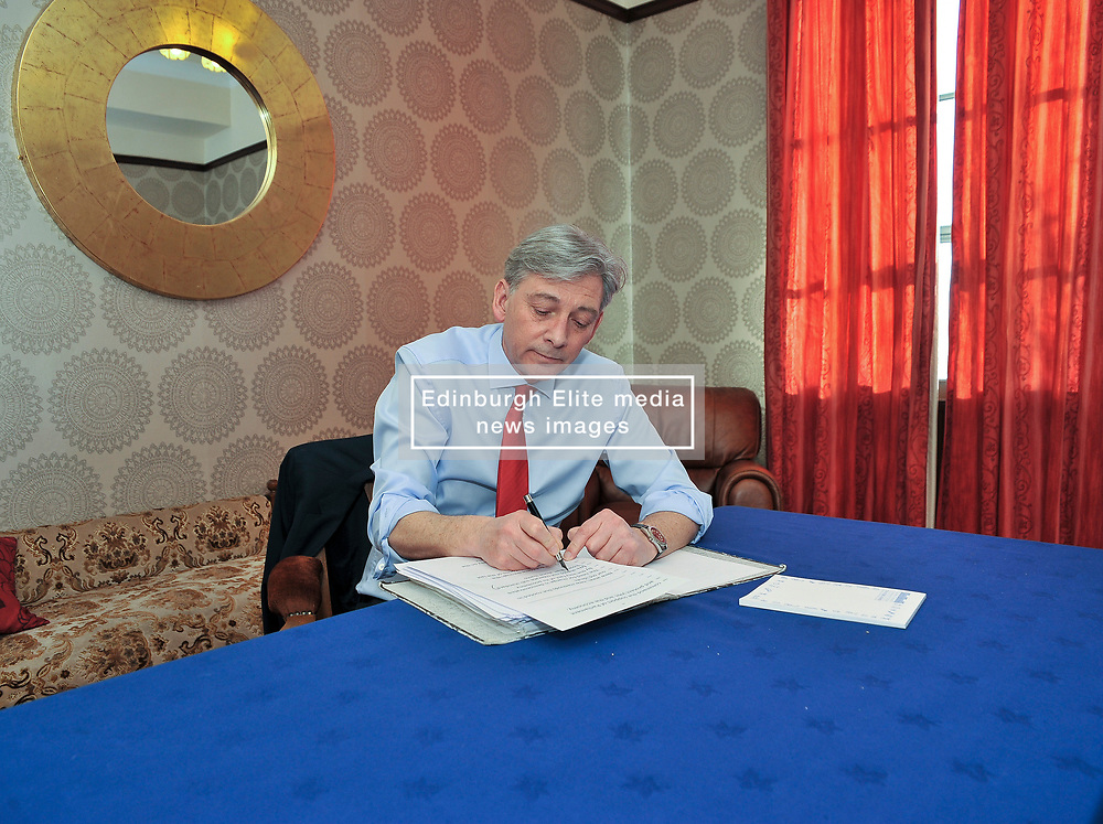 Scottish Labour leader Richard Leonard put's the finishing touches to his speech for the conference.<br /> <br /> © Dave Johnston / EEm