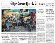 "THE NEW YORK TIMES. A1. ""In Venezuela, Protest Ranks Grow Broader"". By William Neuman. February 25, 2014."