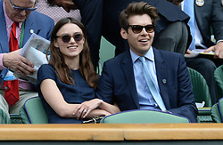 Keira Knightley and her husband James Righton in the Royal Box to watch the Ladies' singles Final during day thirteen of the Wimbledon Championships at the All England Lawn Tennis and Croquet Club, Wimbledon.