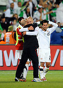 June 23, 2010; Pretoria, SOUTH AFRICA; USA coach Bob Bradley celebrates with his son USA midfielder Michael Bradley (4) after defeating Algeria during Group C play in the 2010 World Cup at Loftus Versfeld Stadium.