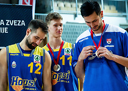 Sandi Cebular of Hopsi Polzela, Jan Copot of Hopsi Polzela and Simo Atanackovic of Hopsi Polzela after losing during basketball match between KK Sixt Primorska and KK Hopsi Polzela in final of Spar Cup 2018/19, on February 17, 2019 in Arena Bonifika, Koper / Capodistria, Slovenia. KK Sixt Primorska won the game and became Slovenian Cup Champion 2019. Photo by Vid Ponikvar / Sportida