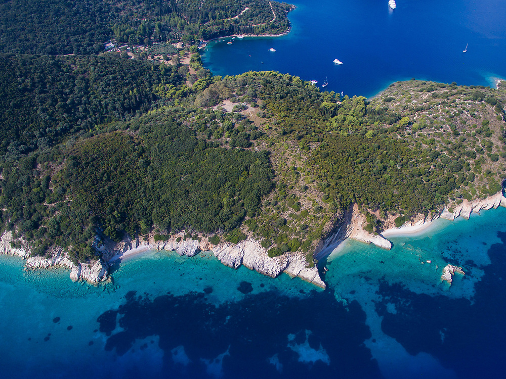 Aerial images of Gidaki beach in Ithaca island, Greece