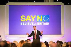 """© Licensed to London News Pictures . 30/11/2015 . Leeds , UK . NIGEL FARAGE addresses a """" Say No to the EU """" event at the Leeds United's ground at Elland Road . Photo credit: Joel Goodman/LNP"""