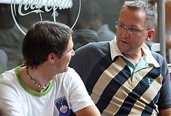 Rider Borut Bozic and coach Martin Hvastija of Slovenian Olympic Team at departure to Beijing 2008 Olympic games, on July 31, 2008, at Airport Jozeta Pucnika, Brnik, Slovenia. (Photo by Vid Ponikvar / Sportal Images)/ Sportida)
