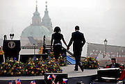 Prague/Czech Republic, CZE, 05.04.2009: The President of the United States Barack Obama leaving with his wife Michelle Obama the stage after his speech which took place on Sunday the 5th of April at Hradcanske square in front of Prague castle in Czech Republic.